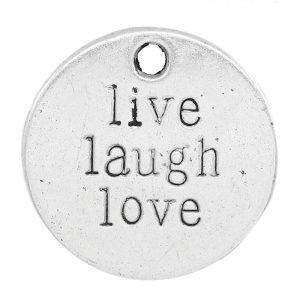 Bedel live laugh love zilver