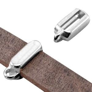 DQ schuiver met oog zilver voor 10mm plat leer en koord