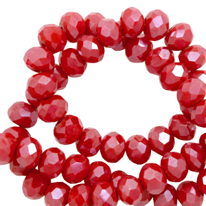 Facet kralen 6x4mm carmine red pearl shine