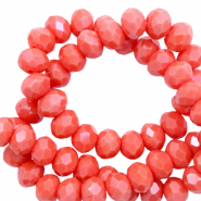 Facet kralen 6x4mm coral red pearl