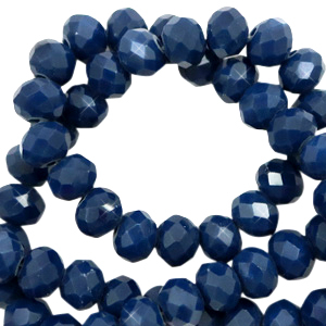 Facet kralen 6x4mm ensign blue pearl shine