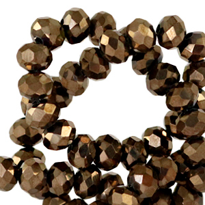 Facet kralen 6x4mm jet brown metallic pearl shine