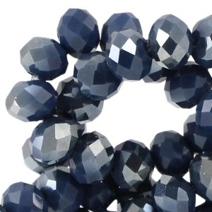 Facet kralen 6x4mm royal blue half diamond