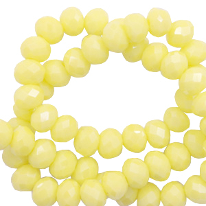 Facet kralen 6x4mm sunshine yellow pearl