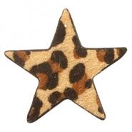 Hairy imi leer hanger ster leopard camel brown