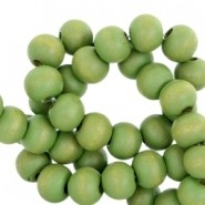 Houten kralen 6mm light olive nature green