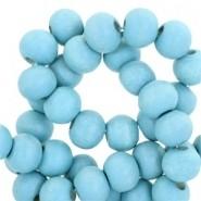 Houten kralen 8mm light teal blue