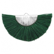 Kwastje hanger dark classy green zilver