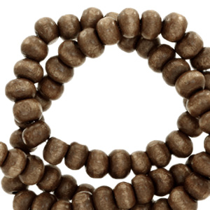 Nature houten kralen 6mm dark brown