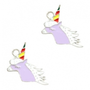 Bedel unicorn hoofd lila zilver