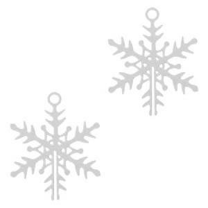 Bohemian hanger snowflake groot zilver