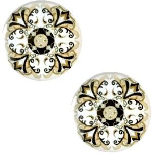 Cabochon 12mm mandala multi beige wit zwart