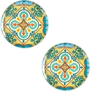 Cabochon 12mm mandala multi blauw geel