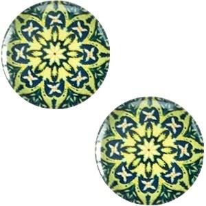 Cabochon 12mm mandala multi groen