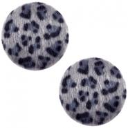 Cabochon faux fur 20mm leopard grey blue