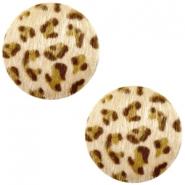 Cabochon faux fur 20mm leopard light brown