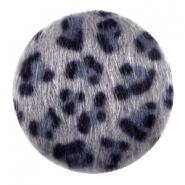 Cabochon faux fur 35mm leopard grey blue