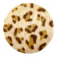 Cabochon faux fur 35mm light brown