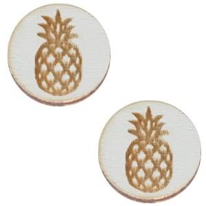 Cabochon hout 12mm ananas grey