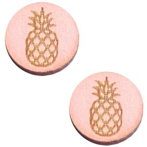 Cabochon hout 12mm ananas pink
