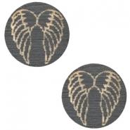 Cabochon hout 12mm angel wings dark grey