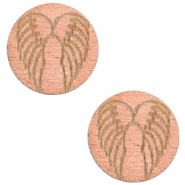 Cabochon hout 12mm angel wings rosegoud