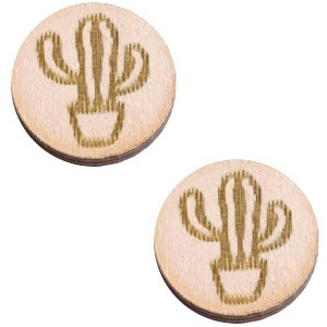 Cabochon hout 12mm cactus nude cream
