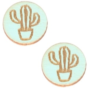 Cabochon hout 12mm cactus sea green