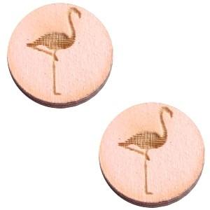 Cabochon hout 12mm flamingo pink