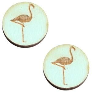Cabochon hout 12mm flamingo sea green