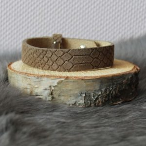Cuoio armband 15mm croco taupe