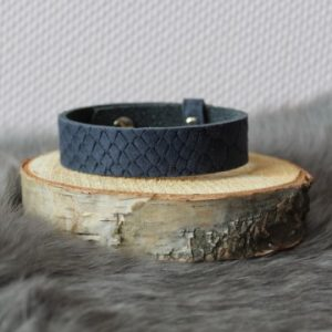 Cuoio armband 15mm reptiel dark denim blue