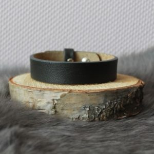 Cuoio armband 15mm zwart