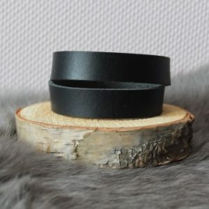 Cuoio armband 15mm zwart dubbel
