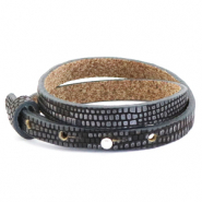 Cuoio armband 8mm anthracite silver dubbel