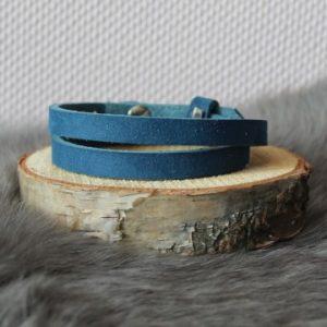 Cuoio armband 8mm nubuck leer aegean blue dubbel