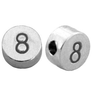 DQ cijferkraal 8 zilver