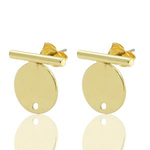 DQ earpin bar met cirkel goud