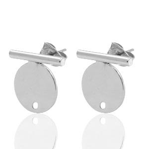 DQ earpin bar met cirkel zilver