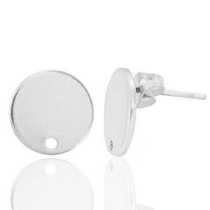 DQ earpin rond zilver