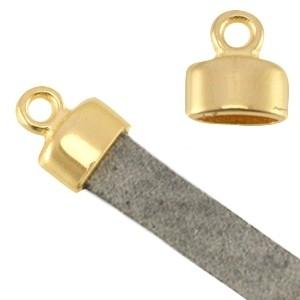 DQ eindkapje goud voor 5mm plat leer en koord