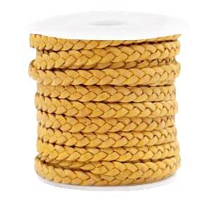 DQ gevlochten leer 5mm vintage golden yellow