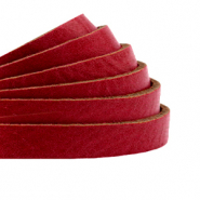 DQ plat leer 5mm cranberry red