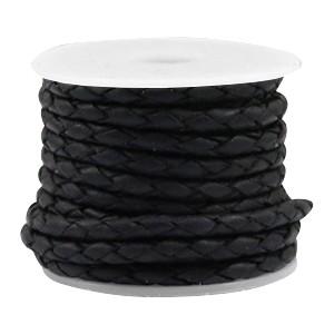 DQ rond gevlochten leer 3mm vintage black