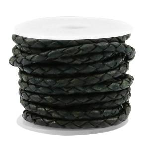 DQ rond gevlochten leer 3mm vintage dark green