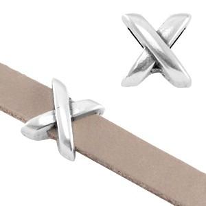DQ schuiver X zilver voor 5mm leer en koord
