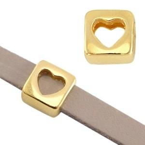 DQ schuiver hart goud voor 5mm leer en koord