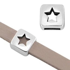 DQ schuiver ster zilver voor 5mm leer en koord