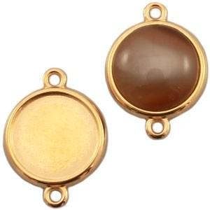 DQ tussenstuk goud voor 12mm cabochon