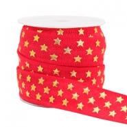 Elastisch ibiza lint 15mm sterren red